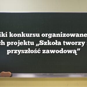 """Wyniki konkursu organizowanego w ramach projektu """"Szkoła tworzy naszą przyszłość zawodową"""""""